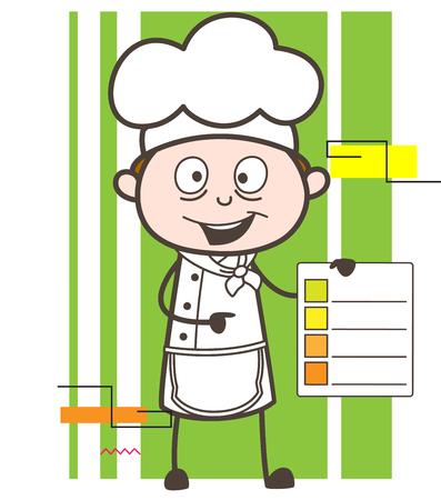 Cartoon Chef Showing Checklist Vector Illustration