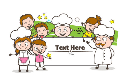 Cartoon Chef avec Happy Kids et Holiday Banner Vector Illustration Banque d'images - 81897225