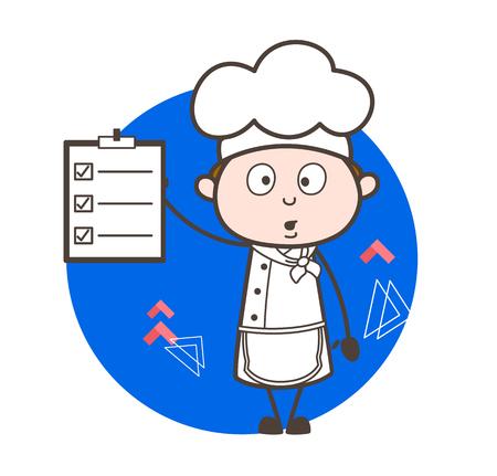 do cooking: Surprised Cartoon Chef Showing Checklist Vector Illustration Illustration