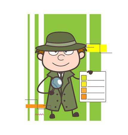 Cartoon Detective Showing Checklist Vector Illustration