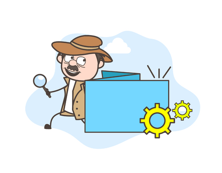 fbi: Cartoon Detective with Processing Banner Vector Illustration
