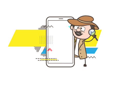 Cartoon Detective Showing Smartphone - Helpline Concept Vector Illustration