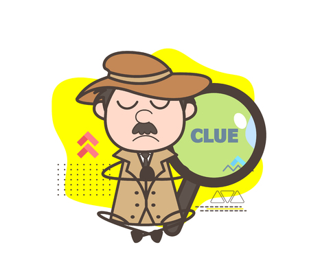 Cartoon Detective Doing Meditation Vector Illustration