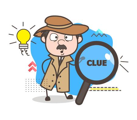 Cartoon Detective Got an Idea Vector Concept Illustration