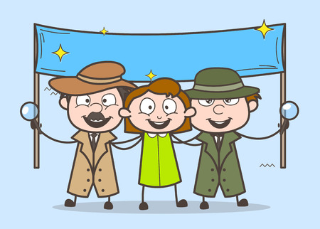 Cartoon Detective with Happy Girl and Banner Vector Illustration
