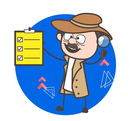 Cartoon Detective Showing a Checklist Board Vector Illustration