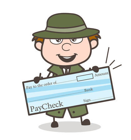 Cartoon Detective Showing a Cheque Vector Illustration Illustration
