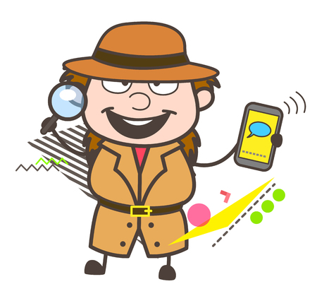 fbi: Happy Cartoon Detective Showing Mobile Message Vector Illustration