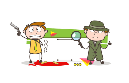 Cartoon Detective with Scared Boy Holding a Gun Vector Illustration