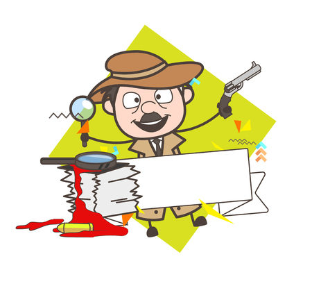 Cartoon Detective with Gun and Banner Vector Illustration