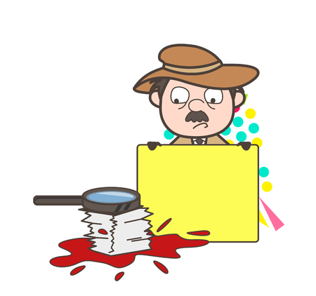 fbi: Cartoon Agent Inspector with Ad Banner and Documents Vector Illustration Illustration