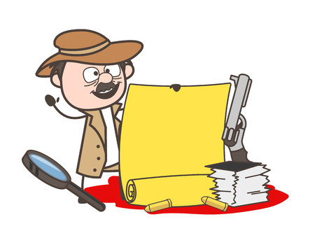 Cartoon Detective with Parchment Banner and Document and Magnifier Vector Illustration