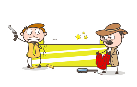 Cartoon Detective with Criminal and Banner Vector Illustration