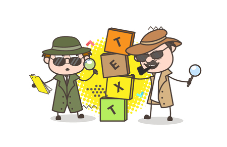 inspector: Cartoon Detective with Text Box Banner Vector Illustration