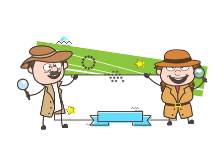 Cartoon Detective Agents with Greeting Banner Vector Illustration