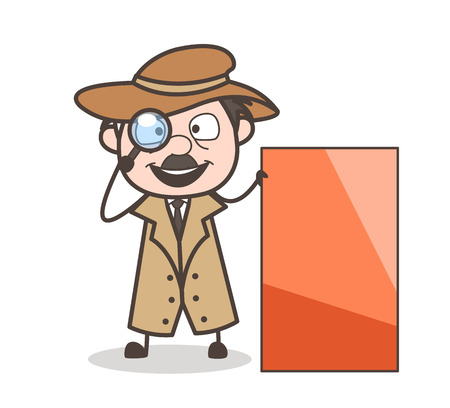 Cartoon Detective with Blank Ad Banner Vector Illustration