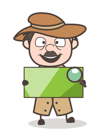 Cartoon Detective Holding Blank Banner Vector Illustration Illustration