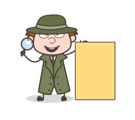 Cartoon Investigator with Ad Banner Vector Illustration Vettoriali