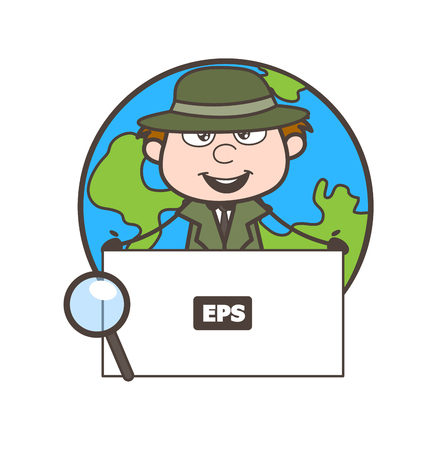Cartoon Detective Character Showing a Blank Banner Vector Illustration