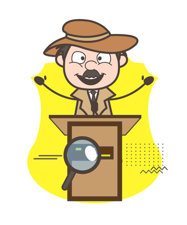 Cartoon Detective Inspector Announcing on Business Meeting Vector Illustration