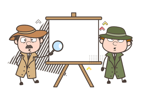 Cartoon Detective with Blank Canvas Board Vector Illustration  イラスト・ベクター素材