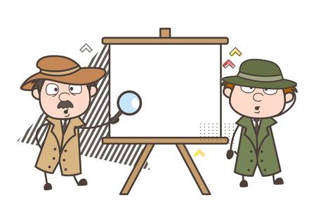 Cartoon Detective with Blank Canvas Board Vector Illustration Illustration