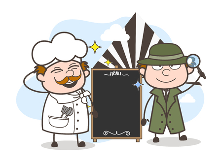 Cartoon Agent with Chef and Blank Banner Vector Illustration