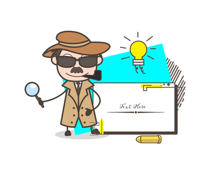 Cartoon Detective with Message Banner Vector Illustration