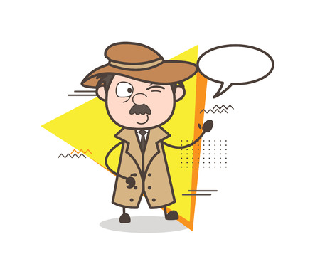 Cartoon Detective Winking Eye with Speech Bubble Vector Illustration Illustration