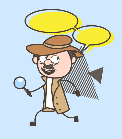 Cartoon Detective Running with Speech Bubble Vector Illustration Illustration