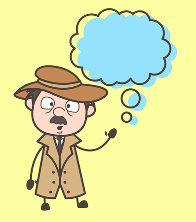 Cartoon Detective with Thinking Bubble Vector Illustration