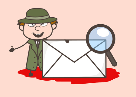 Cartoon Detective with Envelope and Magnifier Vector Illustration