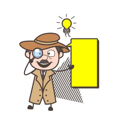 Cartoon CBI Agent with Message Banner Vector Illustration Illustration