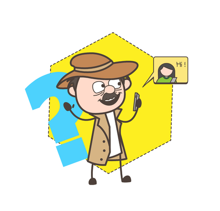 fbi: Cartoon Detective Chatting on Phone Vector Illustration