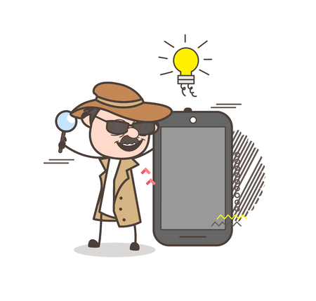 fbi: Cartoon Detective Presenting a Smartphone Vector Illustration