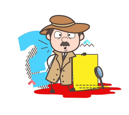 Cartoon Detective with Message Board Vector Illustration Illustration