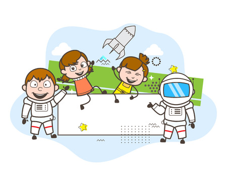 Cartoon Astronaut with Happy Kids and Banner Vector Illustration