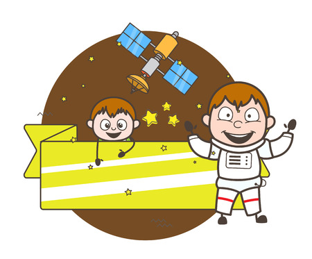 Cartoon Astronaut with Cute Kid and Ad Banner Vector Illustration