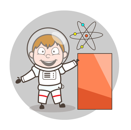 Cartoon Astronaut Showing Banner Vector Illustration Illustration