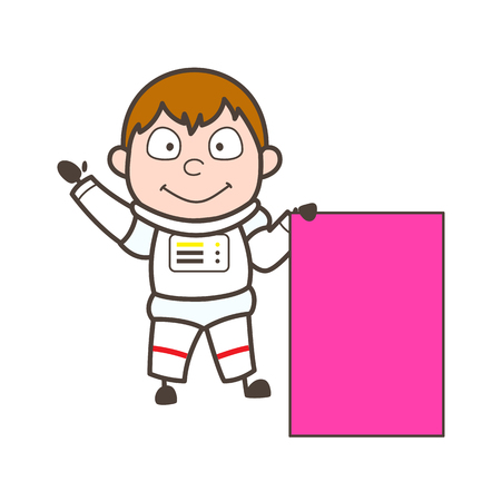 Cartoon Astronaut with Ad Board Vector Illustration