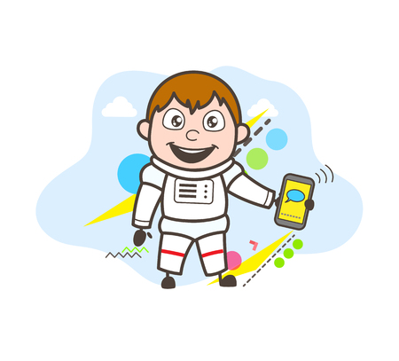 Cartoon Astronaut Showing Message in Mobile Vector Illustration