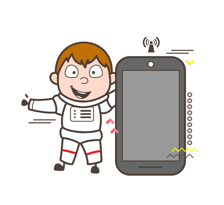 Cartoon Astronaut Presenting a Smartphone Vector Illustration