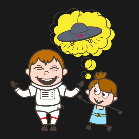 suite: Cartoon Astronaut with Cute Kid Girl and UFO Vector Illustration