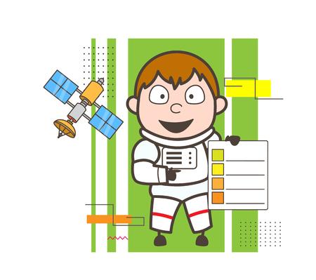 Cartoon Astronaut Showing a Checklist Vector Illustration