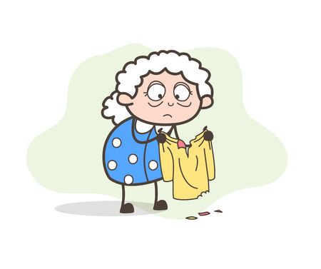 Cartoon Poor Old Lady Sad for Her Torn Clothes Vector Illustration