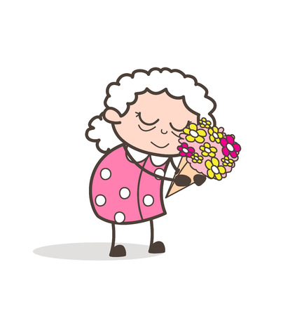 Cartoon Sad Old Lady Remembering Memories Vector Illustration