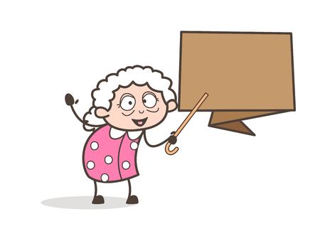 Cartoon Granny Showing Speech Banner Vector Illustration