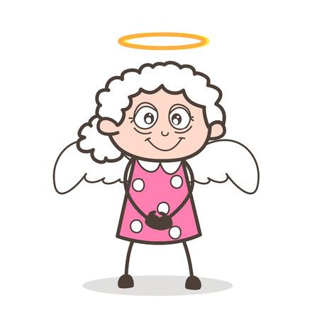 Cartoon Cute Granny Angel Vector Illustration