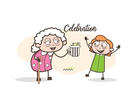 Cartoon Granny Celebrating with Granddaughter Vector Illustration