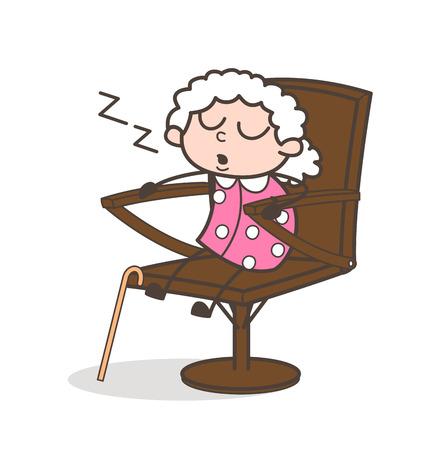 snoring: Cartoon Tired Granny Sleeping on Chair Vector Illustration